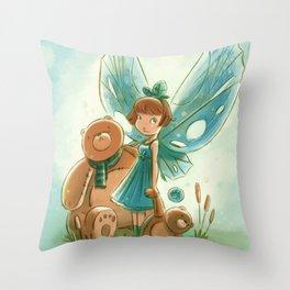 Goblins Drool, Fairies Rule! - Baby Blue Throw Pillow