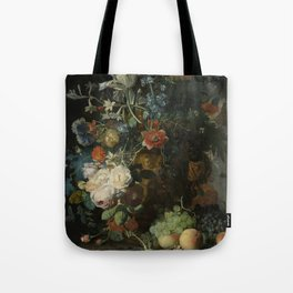 Jan van Huysum - Still life with flowers and fruits (1721) Tote Bag
