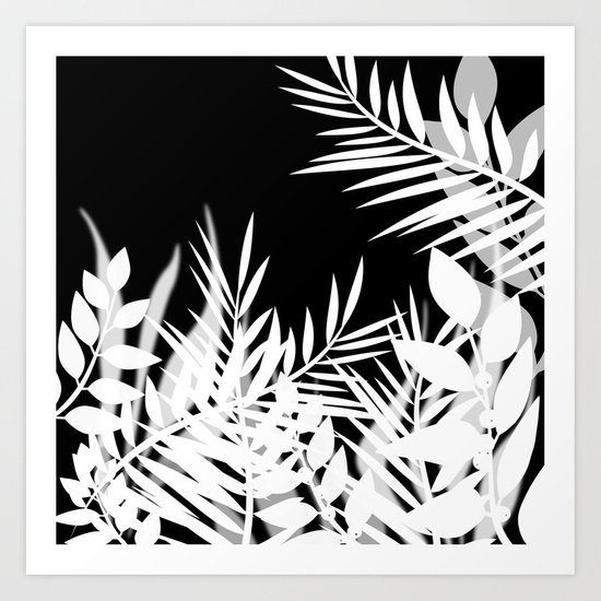 The leaves and berries. Black and white pattern . Art Print