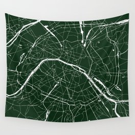 Paris France Minimal Street Map - Forest Green Wall Tapestry