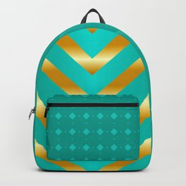 Gold strips on royal green gradient Backpack