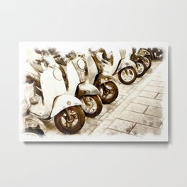 Urban Collection - Scooter Parking. Vintage Watercolor Painting Style. Metal Print