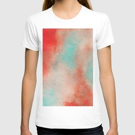 Abstract Watercolor Minimalist Rust Series - Untitled VI orange turquoise marble T-shirt