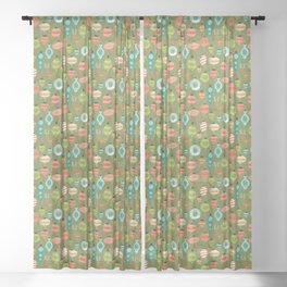 Mid Century Ornaments - Traditional Sheer Curtain