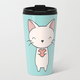Kawaii Cute Cat With Heart Travel Mug
