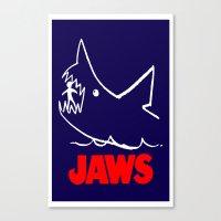 jaws Canvas Prints featuring Jaws by IIIIHiveIIII