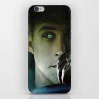 ryan gosling iPhone & iPod Skins featuring Ryan Gosling - Drive by Helena McGill