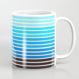 Watercolor Gouache Mid Century Modern Minimalist Colorful Cerulean Blue Stripes Coffee Mug