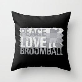 Broomball Stick Game Ball Helmet Gift Throw Pillow
