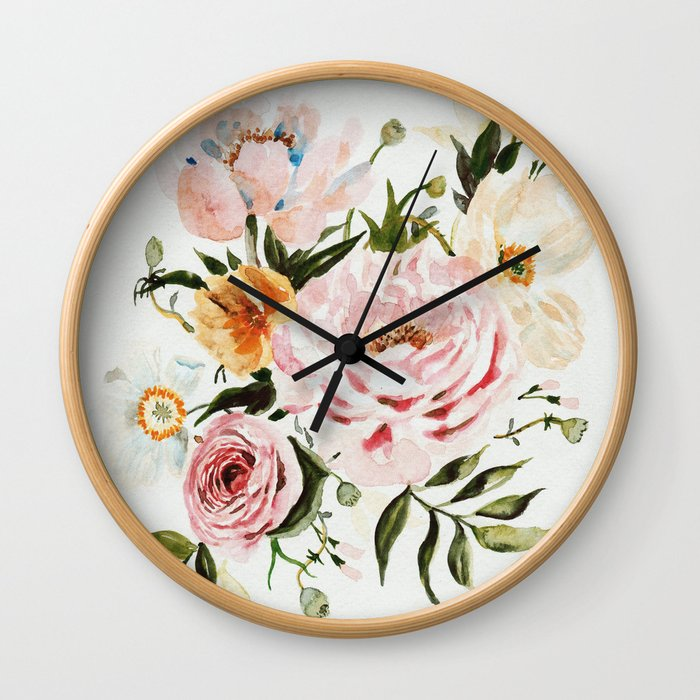 Loose Peonies & Poppies Floral Bouquet Wall Clock