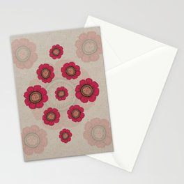 Pata Pattern with Red Flowers on Paper Stationery Cards