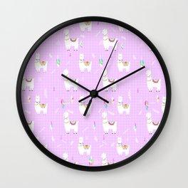 Bohemian llama pattern in pink Wall Clock