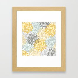 Floral Pattern, Yellow, Pale, Aqua, Blue and Gray Framed Art Print