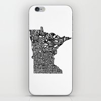minnesota iPhone & iPod Skins featuring Typographic Minnesota by CAPow!