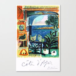 1962 Picasso COTE D'AZURE French Riviera Travel Poster Canvas Print