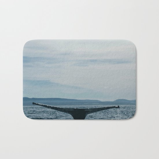 Whale in the sea Bath Mat
