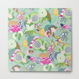 Chinoiserie Decorative Floral Motif Pale Mint Metal Print
