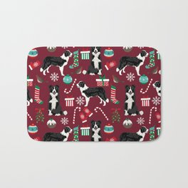 Border Collie christmas stockings presents holiday candy canes dog breed pattern Bath Mat