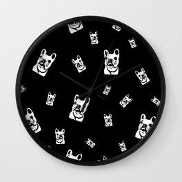 French Bulldog Black White Wall Clock