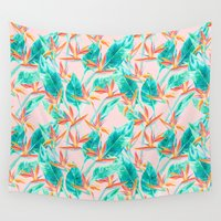 blush Wall Tapestries featuring Birds of Paradise Blush by Jacqueline Maldonado