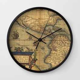 Antique Map of North and South America 1570 Wall Clock