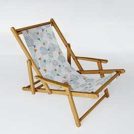 Cinnamon Swirls and Hearts - Gray-Blue-Caramel Sling Chair