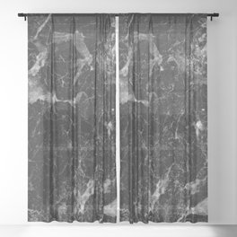 Campari - black marble Sheer Curtain