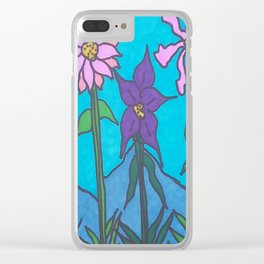 Blue Mountain Flowers Clear iPhone Case