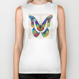 Colorful Butterfly Art by Sharon Cummings Biker Tank