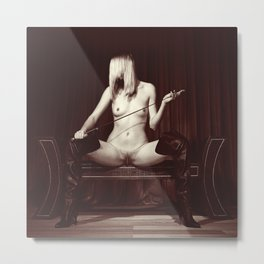 Kinky fetish image with a nude beauty Metal Print
