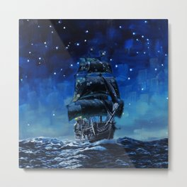 Black Pearl Starry Night Metal Print