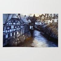 irish Area & Throw Rugs featuring Irish Village by Tom Gregory Artwork
