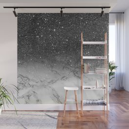 Stylish faux black glitter ombre white marble pattern Wall Mural