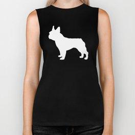 Boston Terrier pet silhouette grey and white minimal dog lover gifts Biker Tank