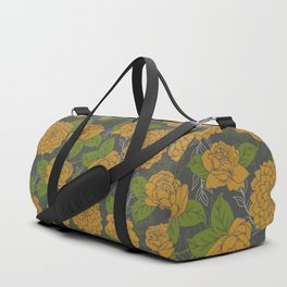 Floral Pattern in Goldenrod and Green Duffle Bag