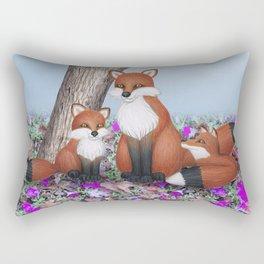 fox, cubs and tufted titmice Rectangular Pillow