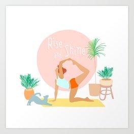 'Rise and Shine' Yoga Girl Power Art Print