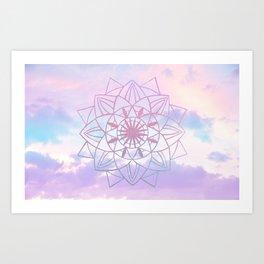 Star Mandala Unicorn Pastel Clouds #1 #decor #art #society6 Art Print