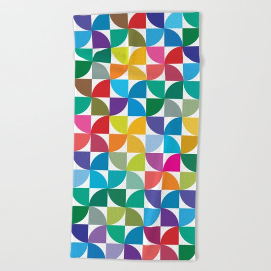 Geometrical work - Colours rotation Beach Towel