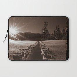 B&W Sunrise Backcountry Ski // Black and White Skin Track to Snowy Paradise Laptop Sleeve