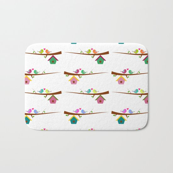 Birds on branches in spring Bath Mat