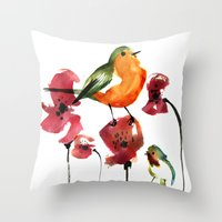robin Throw Pillows featuring ROBIN by genie espinosa