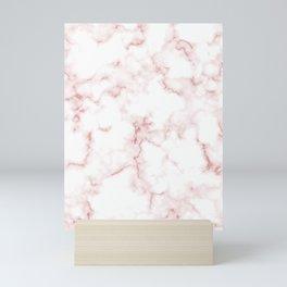 Pink Rose Gold Marble Natural Stone Gold Metallic Veining White Quartz Mini Art Print