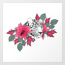 Stylish leopard and cactus flower pattern Art Print