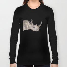 Watercolor Rhino Long Sleeve T-shirt