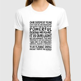 Inspirational Print. Powerful Beyond Measure. Marianne Williamson, Nelson Mandela quote. T-shirt