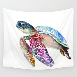 Sea Turtle, swimming turtle art, purple blue design animal art Wall Tapestry
