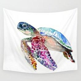 Sea Turtle, swimming turtle art, purple blue design animal art Wall Tapestry