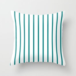Vertical Lines (Teal/White) Throw Pillow