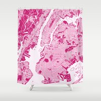 new york map Shower Curtains featuring New York Map - Magenta by PinkMaps